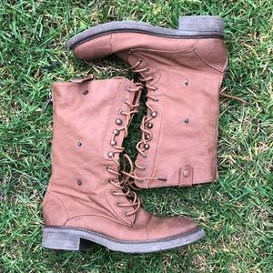 Cathy Jean Combat Boots Lace Up Size 7